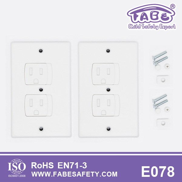 E078 Fabe Amazon hot sale item professional us standard child safety electric plug plastic outlet covers