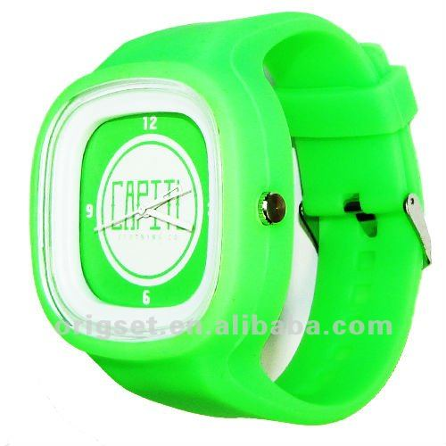 Quartz silicon watches square Jelly man watch customize logo on face and strap