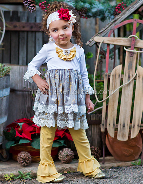 2016 wholesale lace ruffle top half sleeve yellow ruffle pants boutique latest kids clothing set