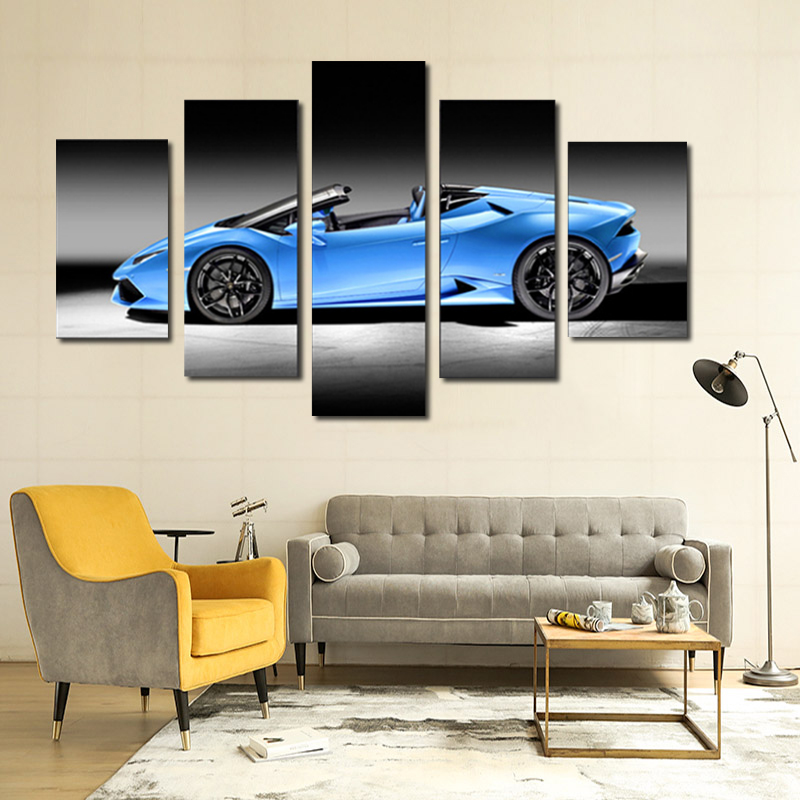 Frameless 5Panels Blue Car Printed Painting Decoration Wall Art Picture Home Decor Acrylic Paint On Canvas For Artwork