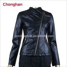 Chonghan 2017 Manufacturer Fashion Sexy Motorbike Ladies Leather Jacket One Piece