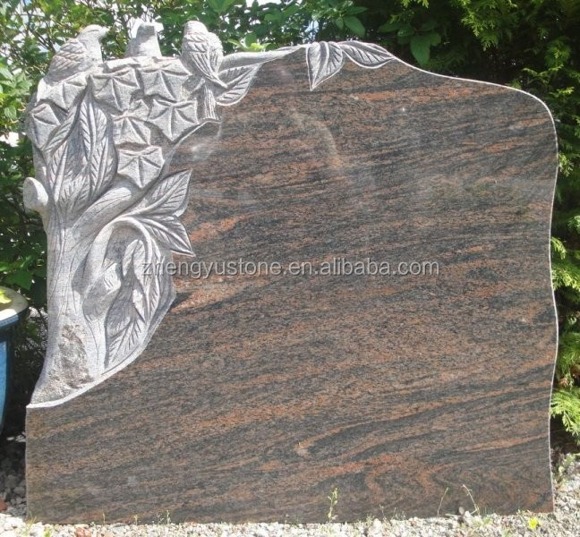 New Design Red Granite Tombstone with Birds and Trees