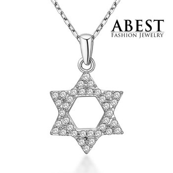Hot Sale Star of David Pendant Sterling 925 Silver Plating 18K White Gold Elegant Pendant Necklace Jewelry
