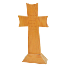 Wholesale decorative wood crafts standing unfinished pine carved wood cross