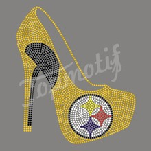 Steelers high heels sports team hot fix motif rhinestone transfers