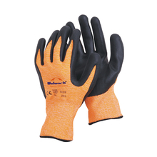 13 guage HPPE fibre knitted with sandy nitrile foam CE EN 388 safety gloves