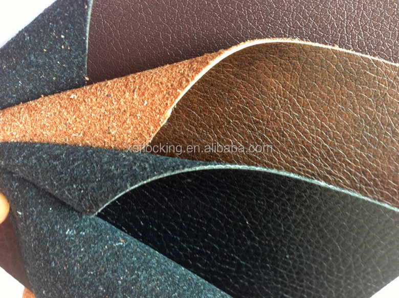 environmental pu/pvc Leather back flock for shoe/sofa/furniture