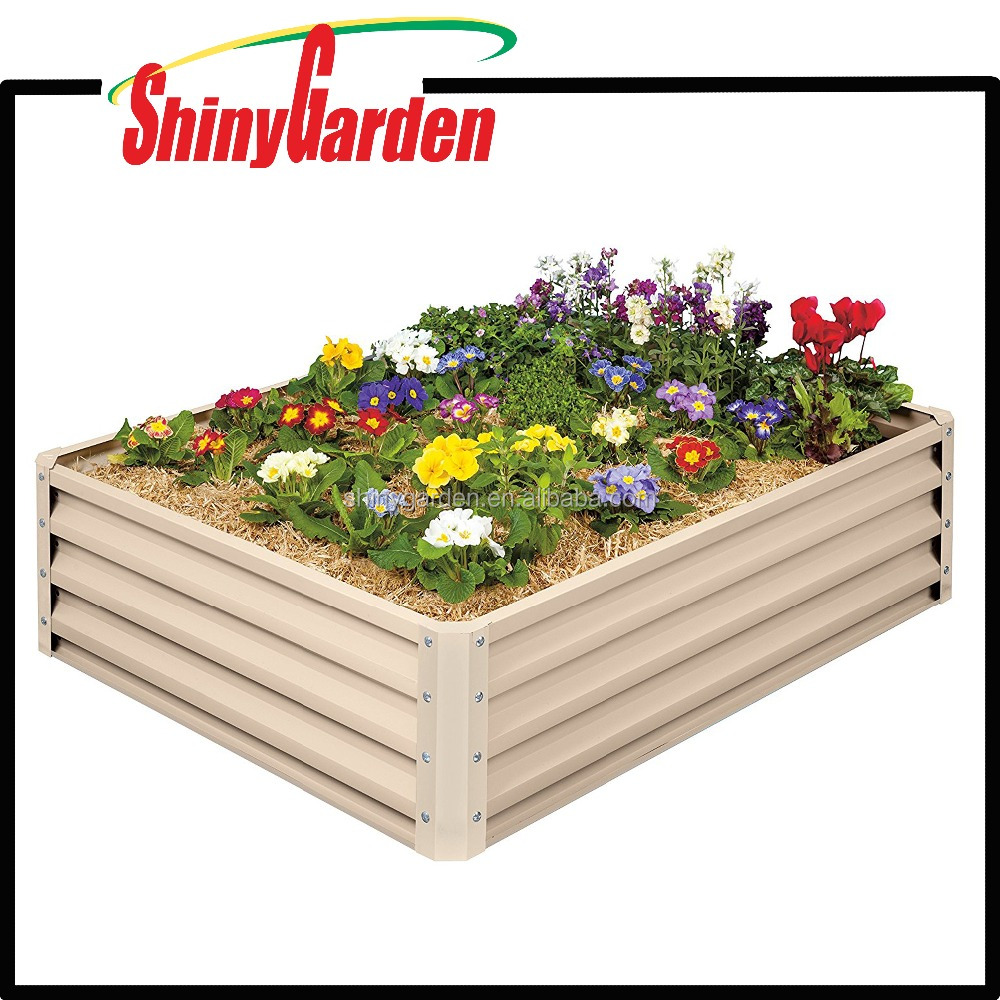 Metal Raised Garden Bed Kit - Elevated Planter Box Rectangular For Growing Herbs, Vegetables, Flowers, Tin Material