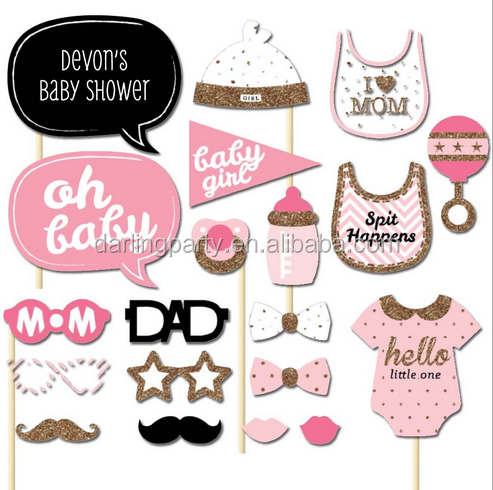 19Kit Girl Baby Shower Photo Booth Props for Birthday Party