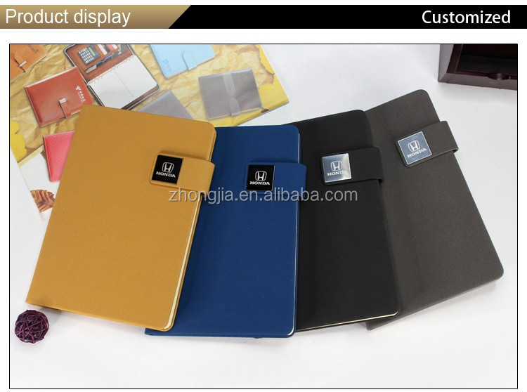 Hot sale custom pu notebook with metal logo