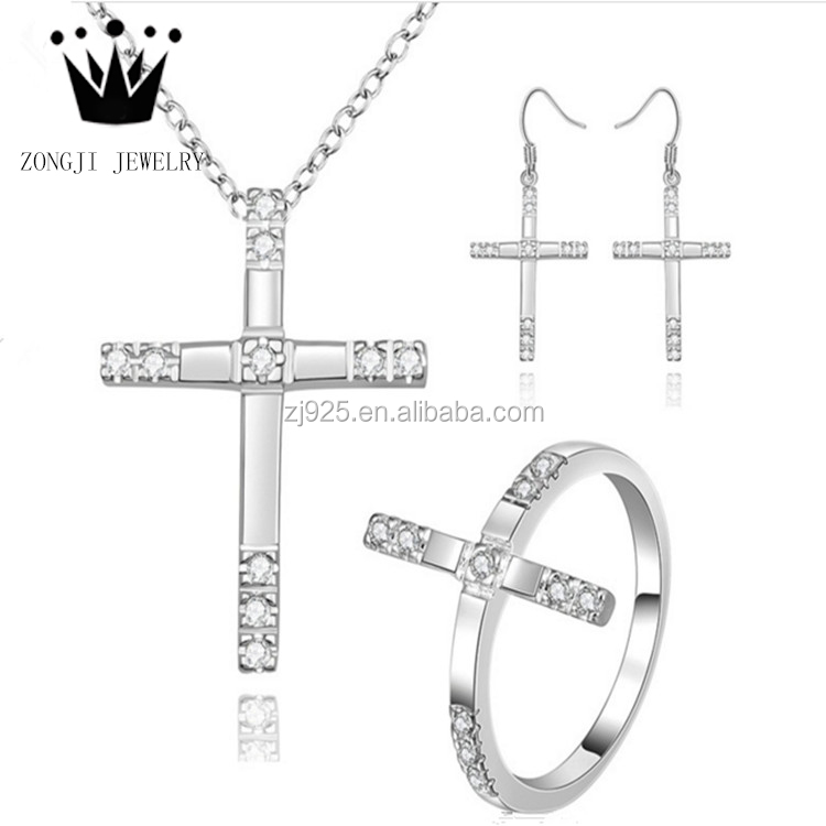 Alibaba 925 Sterling Silver Cross Jewelry Sets Of Necklaces Earrings And Rings