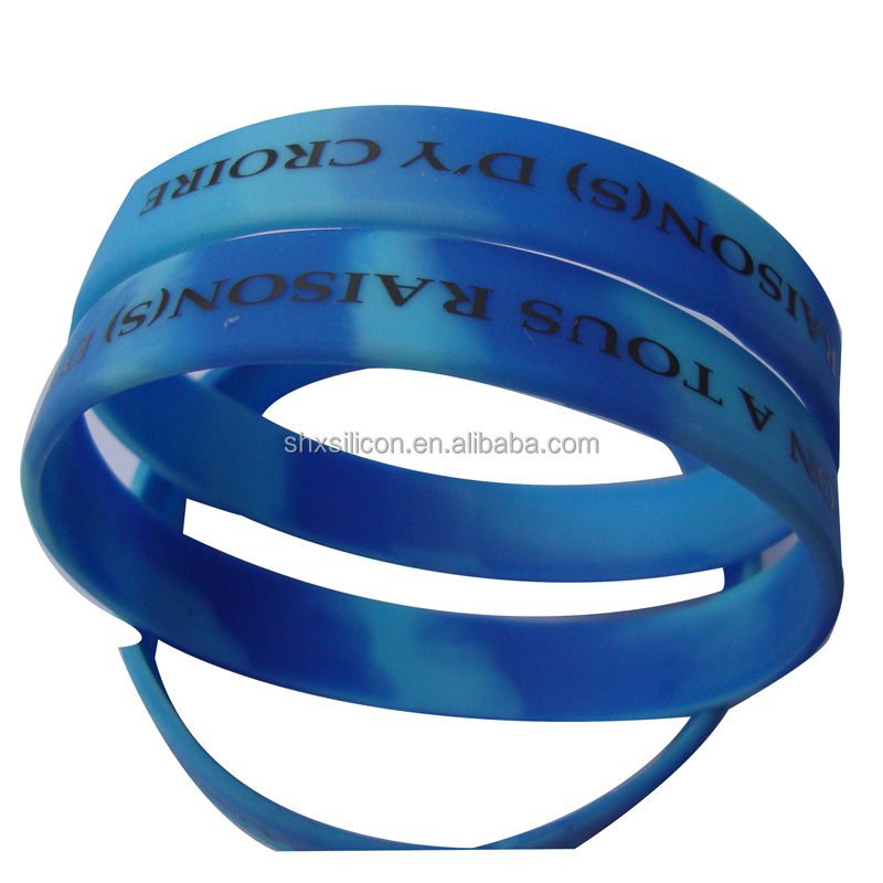 swirl color promotion printed silicone rubber wristband