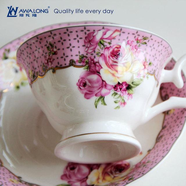 Light purple ceramic bone china coffee tea set from Awalong