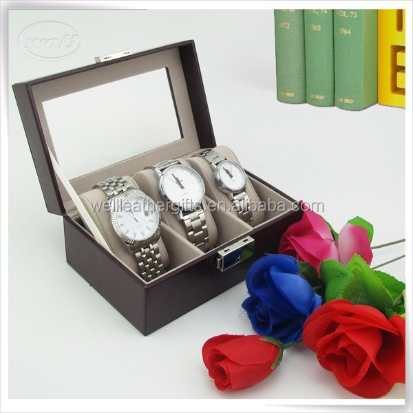 eco-friendly handmade pu leather wooden luxury cheap watch cases
