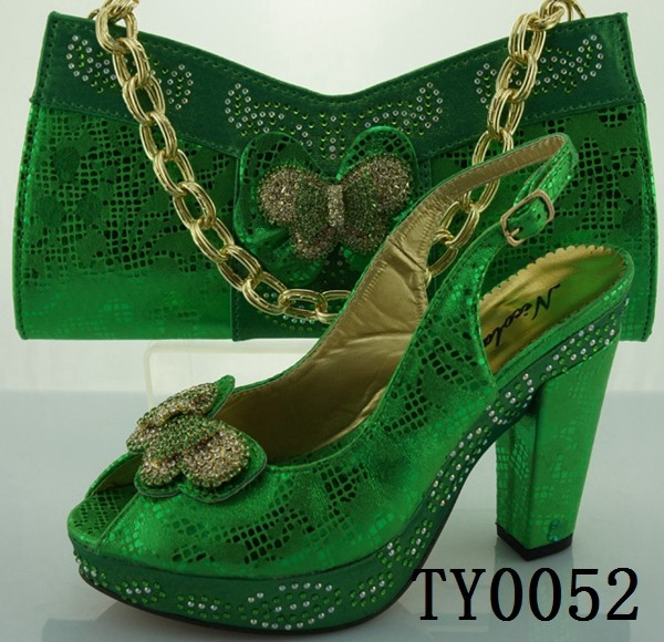 butterfly shoes and bags in green nice italy women party shoes match bags