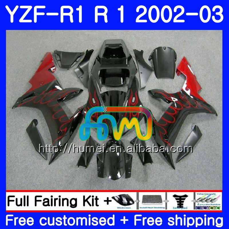 Body For YAMAHA YZF 1000 red flames YZFR1 <strong>02</strong> <strong>03</strong> YZF-1000 Bodywork 99HM8 YZF R 1 YZF <strong>R1</strong> <strong>02</strong> <strong>03</strong> YZF1000 YZF-<strong>R1</strong> 2002 2003 <strong>Fairing</strong>