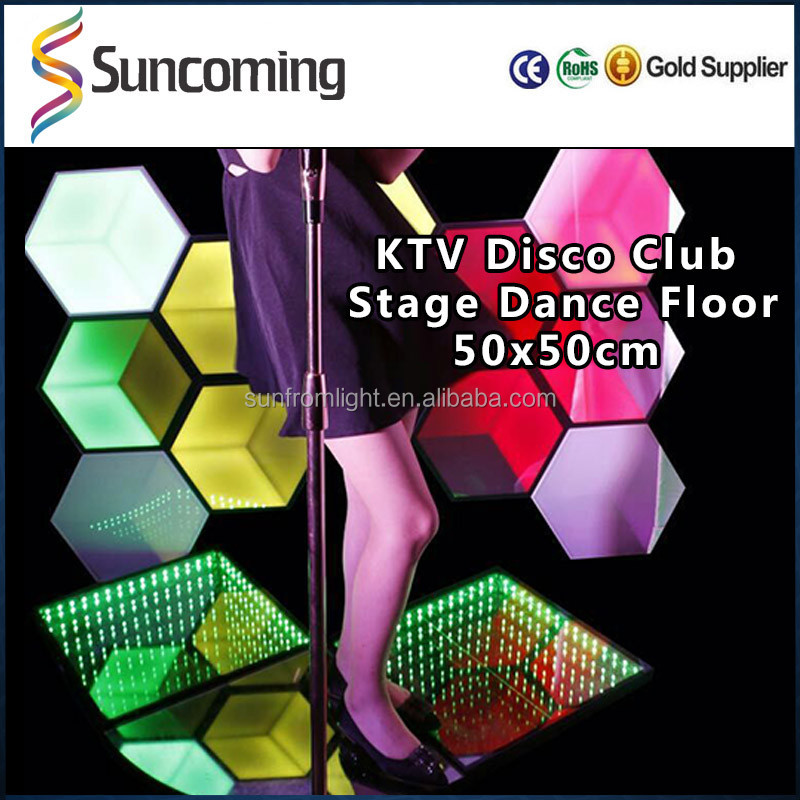 KTV Disco Home 3D Infinite Effect RGB Portable Tap Led Dance Floor for Sale