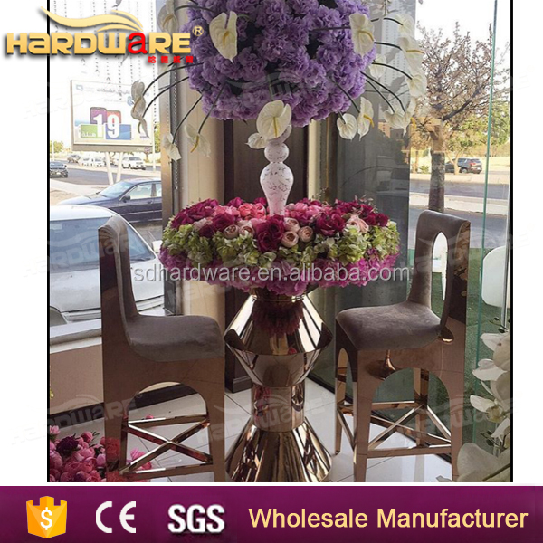 golden stainless steel round wedding use center table cake table