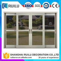 Europe style with CE certification temple glass aluminium alloy sliding glass doors with fly screen