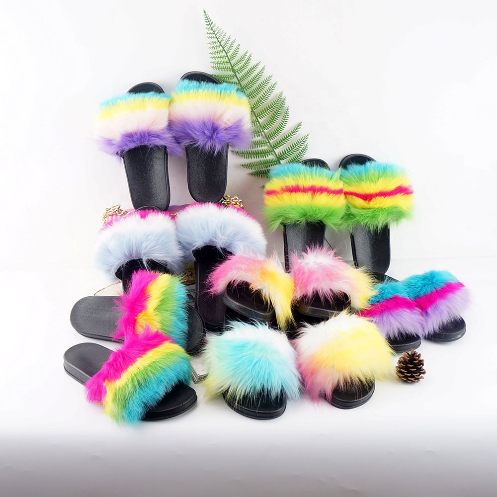 faux fur slides <strong>slippers</strong> for women summer slides footwear hot sale women shoes slides <strong>slippers</strong>