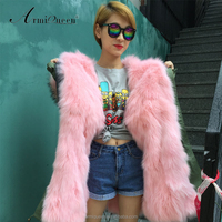 2017 High-end Pink Real Fox Fur Lined Military Green Jacket With Raccoon Fur Hood, Womens Short Winter Long Coat Parka Wholesale