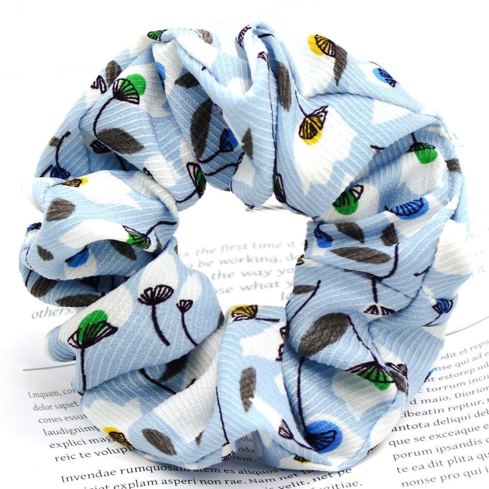 Fashion Women new arrived hair tie Summer flower chiffon fabric hair ring scrunchies for girls