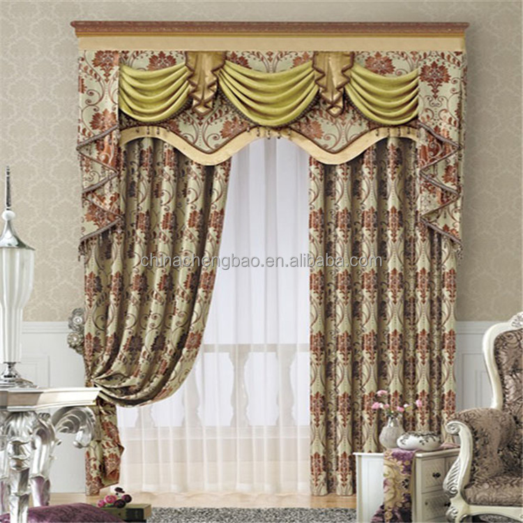 European style luxury window cotton curtain for living for Window cotton design