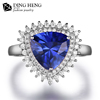 Women Retro Trillion Shape Blue Sapphire Gemstone 925 Sterling Silver Cocktail Ring