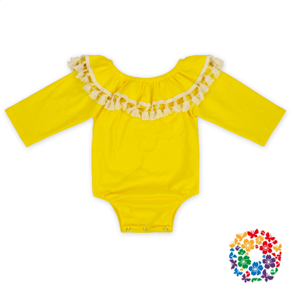 Baby Boutique Wholesale Yellow Long Sleeve Snaps Clothes Romper