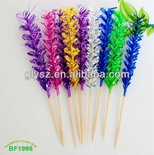 Hot sale wooden party decorative pick with colorful flowers
