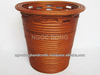 Round nailed rattan tapered waste basket