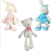 wholesale High quality nice plush rabbit toy for baby Stuffed plush bunny toy with dress for kids gift