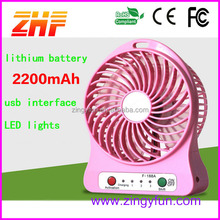 2015 factory wholesale portable rechargeable fan with led light,mini handy fan
