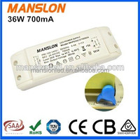 IP65 waterproof electronic 24-48V constant current 700mA meanwell led driver 36W