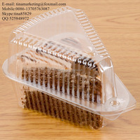 Clear BOPS Wedge Single-Slice Pie Container and Triangle Hinged Clamshell Shape Plastic Cake Box