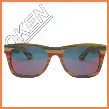 Recycled raw material bamboo and wood sunglass
