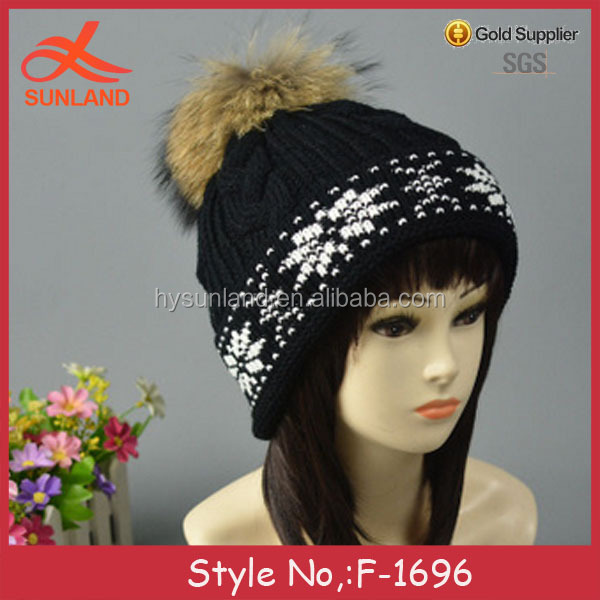 F-1696 popular winter chunky free sample knitting satin lined beanie hat with fur pom pattern