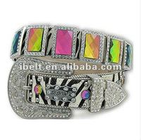 Western Bling Volcano Prism Rhinestone Zebra Print Cowhide Belt BEAUTIFUL FLASHY