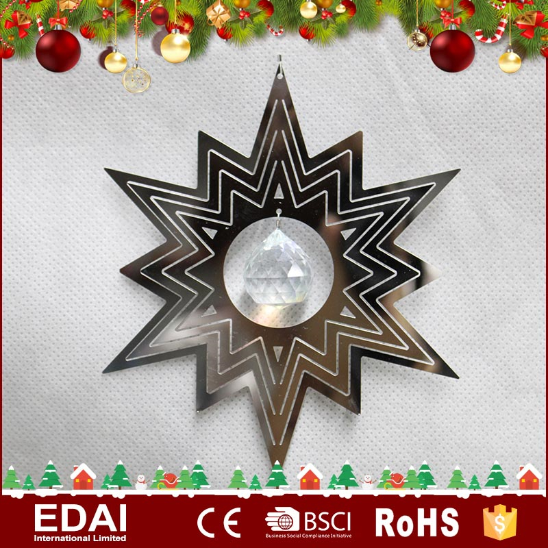 "Unique design 5"" hanging cosmo spinner star metal ornaments with one pearl"