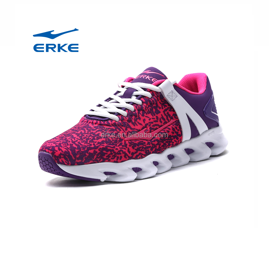 ERKE wholesale brand fashion mesh camouflage pattern womens running shoes 2016