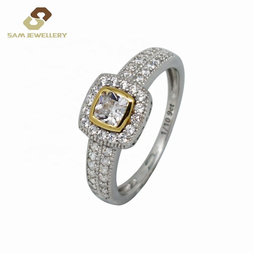 Setting Vintage Frame Bezel Princess Cut Zircon 9 K Gold With Sterling 925 Silver Bridal Diamond Wedding Band Ring <strong>Jewelry</strong>