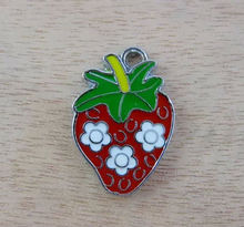 color enameled strawberry charm accessory metal alloy fruit charm jewelry