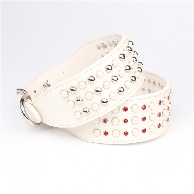 Top sale leather studded full of pearl collar for dog collar bulk