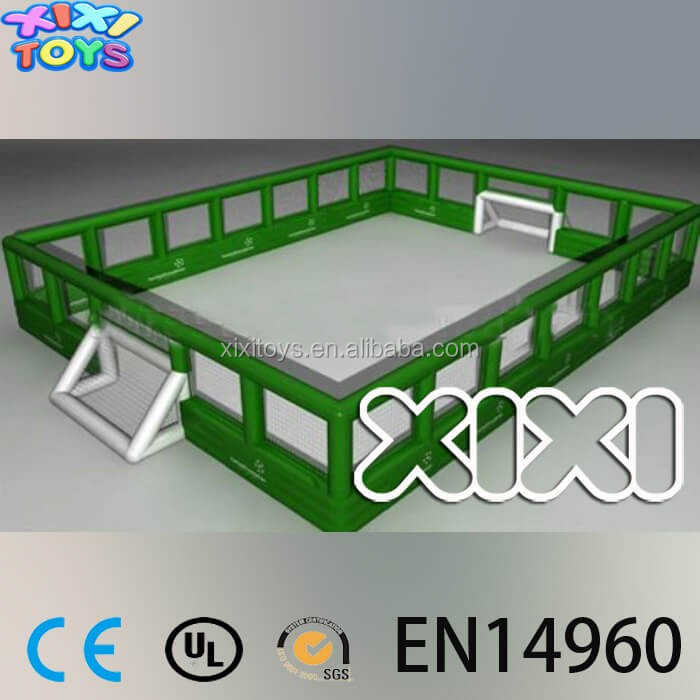 Netting wall inflatable football field,inflatable soccer pitch for kids
