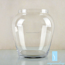 Lead free clear handmade cheap home decoration glass vases for flower arrangements