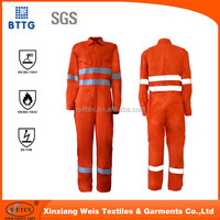 EN11612 cotton high tear resistant fire proof coverall for Oil & Gas Industry