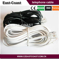 6P4C RJ11 White Telephone Extension Cords