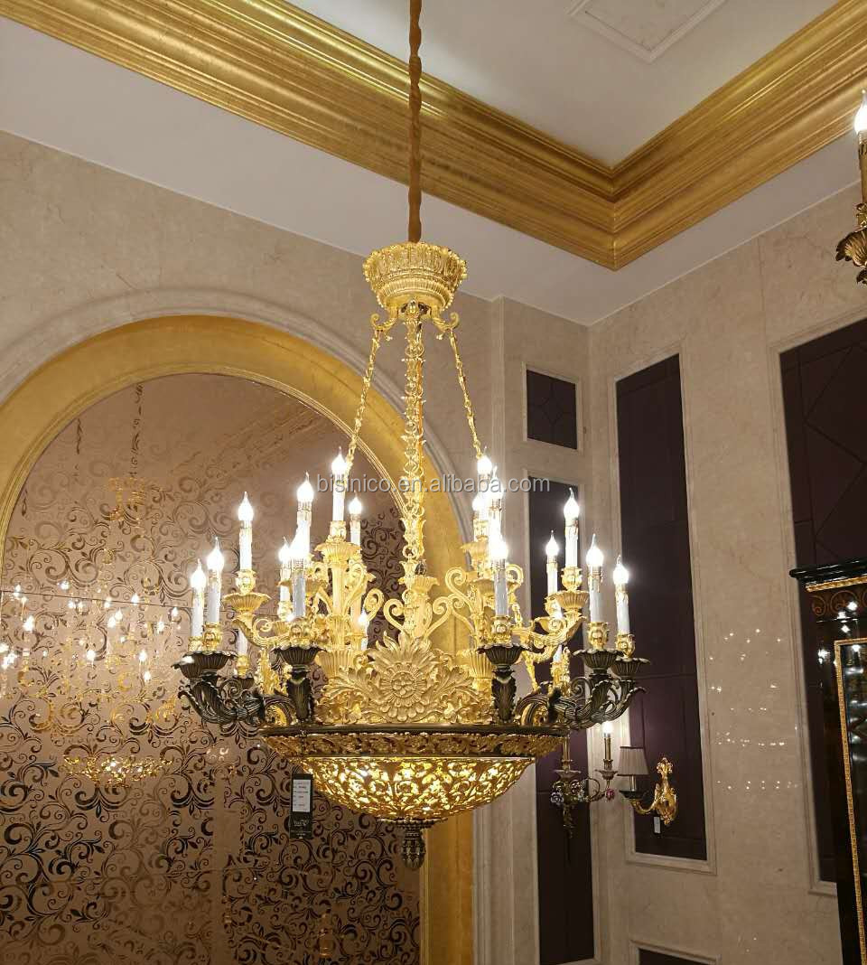 Rococo Style Golden Brass 24 Lights Chandelier/ 24K Plated Luxury Copper Pendant Light/ Antique Hotel Ceiling Lamp