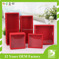 Red paper box with PVC window custom packaging box