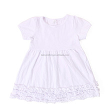 Howell short sleeves solid white ruffle dress children frocks designs